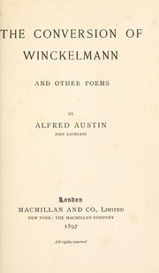 Cover of: The conversion of Winckelmann: and other poems.