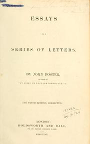 Essays in a series of letters by John Foster