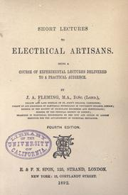 Cover of: Short lectures to electrical artisans