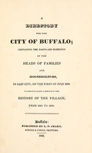 Cover of: A directory for the city of Buffalo by