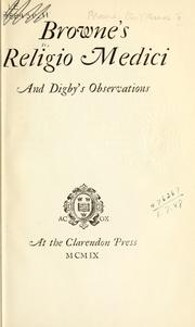 Cover of: Religio medici and Digby's Observations