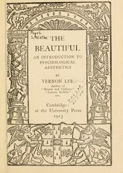 Cover of: The beautiful: an introduction to psychological aesthetics