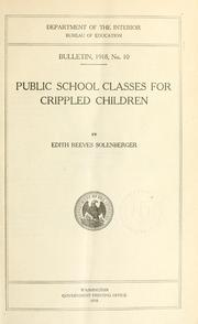 Cover of: Public school classes for crippled children