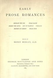 Cover of: Early Prose Romances