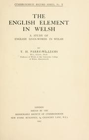 Cover of: The English element in Welsh