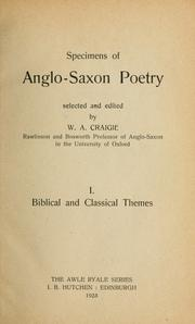 Cover of: Specimens of Anglo-Saxon poetry