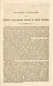 Cover of: To the citizens of the Eighth Congressional District of North Carolina