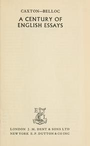 Cover of: A century of English essays
