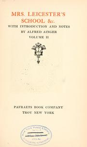 Cover of: Mrs. Leicester's school