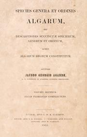 Cover of: Species, genera et ordines algarum
