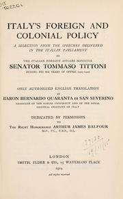 Cover of: Italy's foreign and colonial policy:?A selection from the speeches delivered in the Italian Parliament