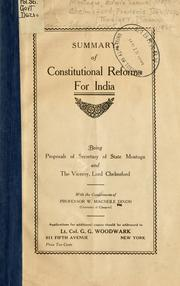 Cover of: Summary of constitutional reform for India