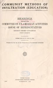 Cover of: Communist methods of infiltration (education): Hearings