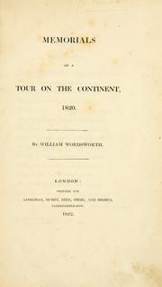 Cover of: Memorials of a tour on the continent, 1820