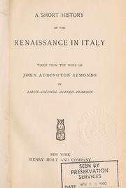 Cover of: A short history of the Renaissance in Italy