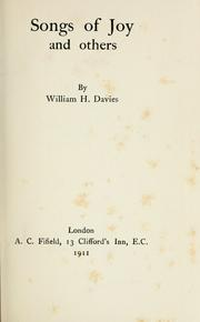 Cover of: Songs of joy and others. | W. H. Davies
