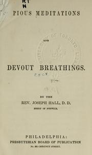 Cover of: Pious meditations: and Devout breathings.