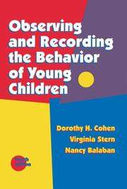 Cover of: Observing and recording the behavior of young children