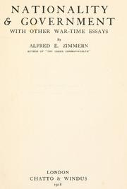 Cover of: Nationality & government