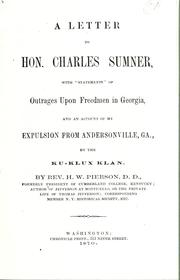 A letter to Hon. Charles Sumner by Hamilton W. Pierson