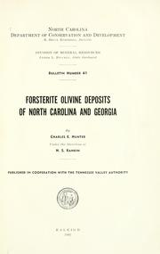 Cover of: Forsterite olivine deposits of North Carolina and Georgia