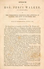 Cover of: Speech of Hon. Percy Walker, of Alabama