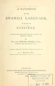 Cover of: A handbook of the Swahili language as spoken at Zanzibar