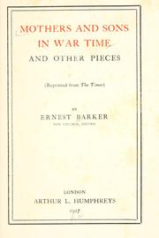 Cover of: Mothers and sons in war time and other pieces