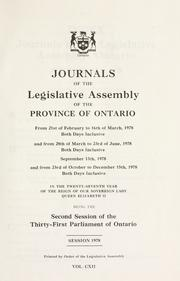 Cover of: Journals of the Legislative Assembly of the Province of Ontario. by Ontario. Legislative Assembly.