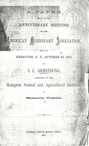 Cover of: A paper read at the anniversary meeting of the American Missionary Association