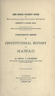 Cover of: Constitutional history of Hawaii