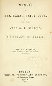 Cover of: Memoir of Mrs. Sarah Emily York