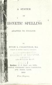 Cover of: A system of phonetic spelling, adapted to English