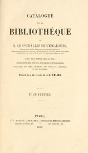 Cover of: Catalogue de la biblioth©Łeque de m. le cte Charles de L'Escalopier ..