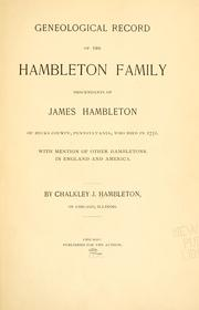 Cover of: Geneological [!] record of the Hambleton family