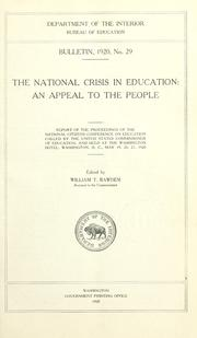 Cover of: The national crisis in education, an appeal to the people