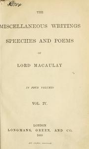 Cover of: Miscellaneous writings, speeches and poems