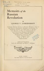 Cover of: Memoirs of the Russian revolution
