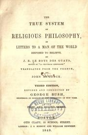 Cover of: The true system of religious philosophy