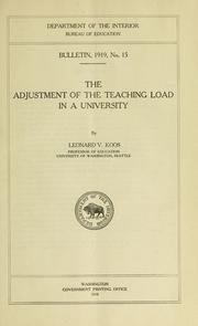 Cover of: The adjustment of the teaching load in a university