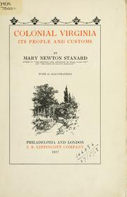 Cover of: Colonial Virginia | Mary Newton Stanard