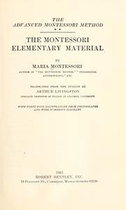 Cover of: The Montessori elementary material
