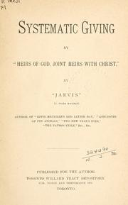 "Cover of: Systematic giving by ""Heirs of God, joint heirs with Christ,"""
