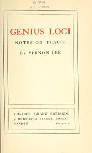 Cover of: Genius loci; notes on places