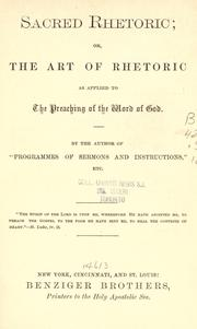 "Cover of: Sacred rhetoric | by the author of ""Programmes of sermons and instructions""."