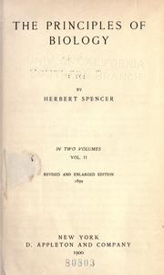 Cover of: The principles of biology