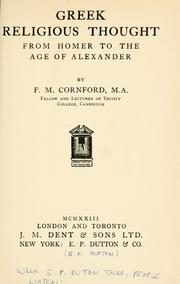 Cover of: Greek religious thought from Homer to the age of Alexander