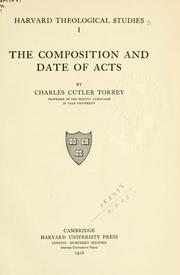 Cover of: The composition and date of Acts