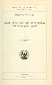 Cover of: Work of school chldren during out-of-school hours