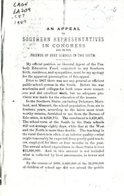 Cover of: An appeal to southern representatives in Congress